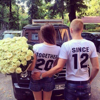 Short Sleeve Fashion Couple Cotton T-shirts [10240496653]