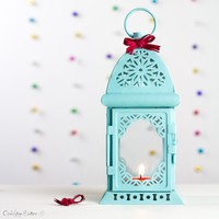 Beach Wedding - Turquoise Blue Candle Holder — Open Vintage Shutters
