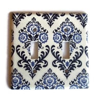 Provincial Damask Floral Double Toggle Switch Plate, switchplate decor