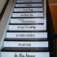 In This House Version 2 Stairs Decal Sticker Wall Vinyl Art Home Family