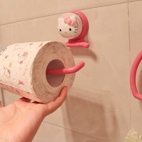 Hello Kitty Strength Seamless Suction Wall Hanger Suction Towel Storage Rack Holder Rack Bathroom Kitchen Tools 5D