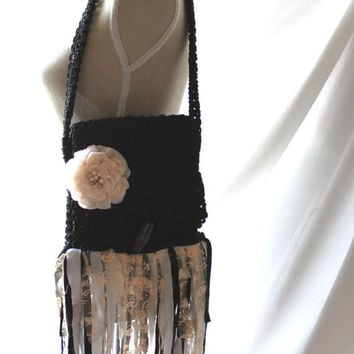 Fringed purse, boho chic fringe bag, shabby lace, gypsy cowgirl, women's 70s purse, vintage bohemian, fringed purse, True rebel clothing