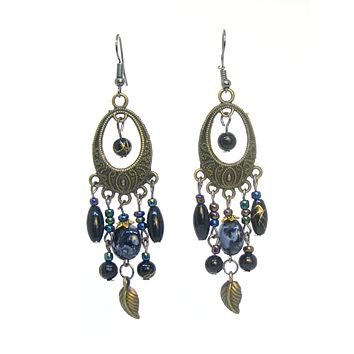 Bohemian Earrings Long Drop Hook Chandelier Bronze