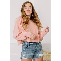 Signed Up For It Cropped Sweatshirt | Dusty Rose