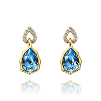 Gold Plated Blue Crystal Earring