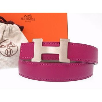 AUTHENTIC HERMES H buckle Constancebelt purple/gray Leather/VeauEpsom 0462