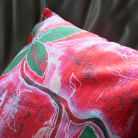 Christmas decorative throw pillow, painted red green flower home decor cushion for indoor or outdoor comfort - stylized modern pillow