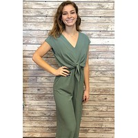 Next To Me Jumpsuit- Slate Green
