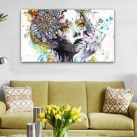 Sexy Woman Face Graffiti Pop Art Canvas Painting Digital Prints Wall Art Picture Living Room Sofa Home Cuadros Decor Poster