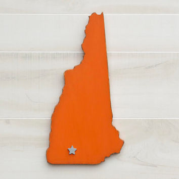 New Hampshire state shape sign wood cutout wall art w/heart or star 35 Colors. Wedding Guestbook Anniversary Gift Country Cottage Chic Decor