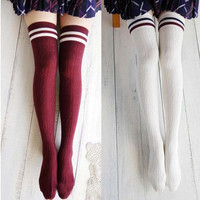 Korea New Girls Women's College Wind Slim Thigh High Over-knee Socks Stockings Z_G