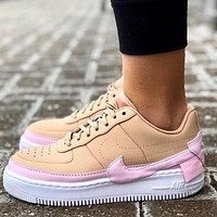 Alwayn Nike Air Force 1 JESTER XX AF1 Crooked Low-Top Sneakers Pink Khaki