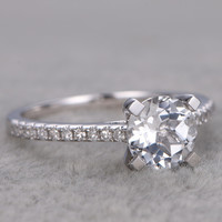 6.5mm Round Topaz Engagement Ring Diamond Wedding Ring 14K White Gold Anniversary Gifts For Her