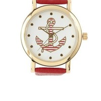 Red Striped Anchor Faux Leather Watch by Charlotte Russe