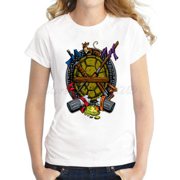 New arrivals cheapest fashion women customized t-shirt Turtle Family Crest retro printed lady tops short sleeve casual tee