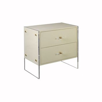 Norris Cream Faux Shagreen Side Table
