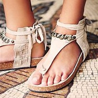 Free People Collins Wrap Ankle Suede Sandals in Stone F65A965-STONE