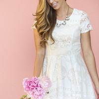 Flora Ivory Fit and Flare Dress with Sleeves and Tulle