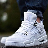 Nike AIR Jordan 4 AJ4 fashion men's casual sports shoes pure white high-top basketball shoes