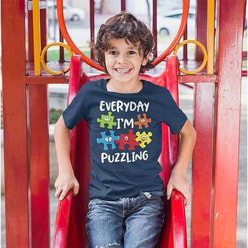 Kids Funny Autism Shirt Everyday I'm Puzzling Shirt Autism Shirt Puzzle Shirt Funny Autism T Shirt