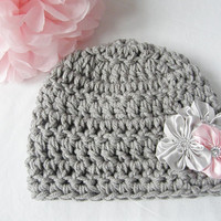 Ready to Ship New Crochet Grey Gray Baby Beanie Girl 6 Months - 12 Months