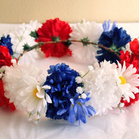 Red White and Blue Flower Crown, July 4th Headpiece, Cute Red White Blue Flower Wreath, 4th of July Accessories, July Fourth Flower Crown