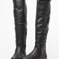 Qupid Black Knee High Riding Boots @ Cicihot Boots Catalog:women's winter boots,leather thigh high boots,black platform knee high boots,over the knee boots,Go Go boots,cowgirl boots,gladiator boots,womens dress boots,skirt boots.