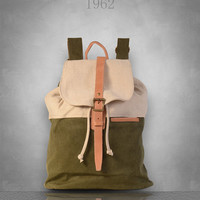 New Canvas Backpack Rucksack Bag Large travel school womens Mens unisex green brown gray grey red Genuine Leather straps
