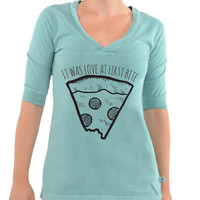 It Was Love At First Bite -Football V-Neck Tee