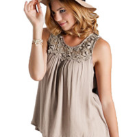 Lace Patchwork Cotton Sleeveless Top