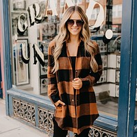 Fashion women's plaid long sleeve lapels example cardigan overcoat