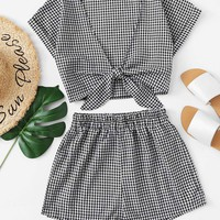 Gingham Top With Shorts Set