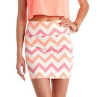 Chevron Print Bodycon Mini Skirt by Charlotte Russe - Ivory