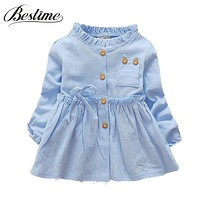 Fashion Infant Clothes Toddler Baby Girls Dress Ruffles Cotton Long Sleeve Infant Dress Autumn Baby Clothing