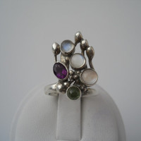 Sterling Silver 925 Gree Purple Clear Blue Stone Ring Size 4.5 925