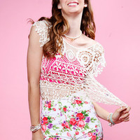 Papaya Clothing Online :: FLORAL LACE KNIT TOP