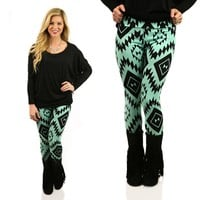 Mayan In Mint Patterned Leggings