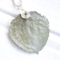 Silver Glitter Aspen Leaf Necklace, Bridesmaid Necklace, Nature Jewelry