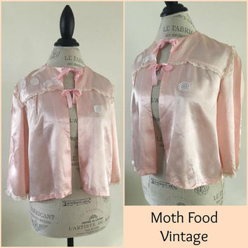 40s Vintage Peachy Pink Satin Lace Bed Jacket 30s Lingerie Deco Gatsby 20s Hollywood Glam Boudoir free people Gypsy festival XS S M