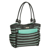 Baby Zip Down Front Fashion Tote Diaper Bag - Just One You™ Made by Carter's® Gray/Mint Green Stripe
