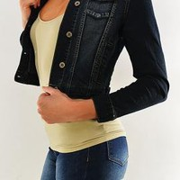 Horseback Lass Denim Jacket Cropped Denim Jacket in Dark Blue | Sincerely Sweet Boutique
