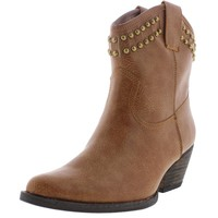 Very Volatile Womens Lunet Faux Leather Studded Cowboy, Western Boots