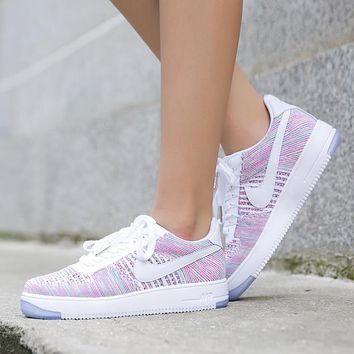 Originals Nike Air Force One 1 Flyknit Low Multicolor / White Women Running Sport Casual Shoes '07 820256-102 Sneakers
