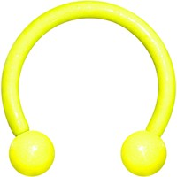 """16 Gauge 3/8"""" Yellow Glow In The Dark Effect Horseshoe Curved Barbell"""