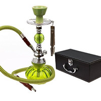 LGI Custom Made Fancy Hookah Shisha - With Chic Carry On Leather Storage Box - GREEN - 11 Inches