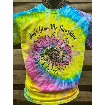 Southern Chics Just Give Me Sunshine Sunflower Rainbow Tie Dye Bright Girlie T Shirt