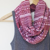White Aztec Inspired Pattern on Mauve Infinity Scarf