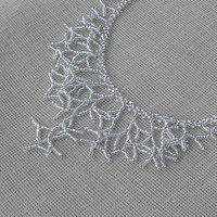Silver Toned Necklace. Silver Necklace. Beadwork. Beaded Handmade Jewelry