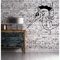 Wall Vinyl Sticker Funny Cartoon Sword Fish w/Needle Kid Room Decor Unique Gift (m380)