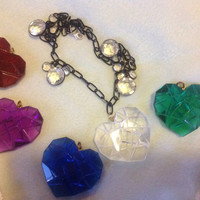 Romantic clear red blue green purple heart pendant necklace on black metal chain crystal charms